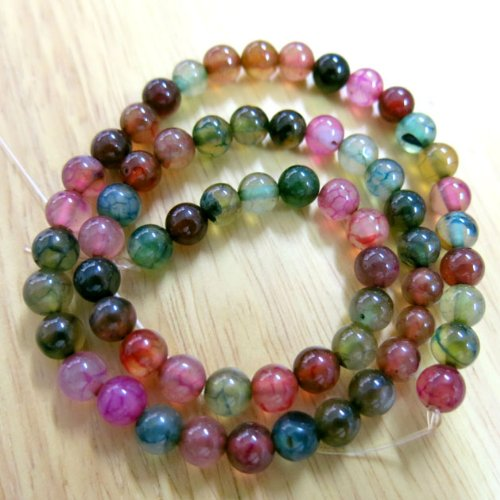 Beading Station BSI Mix Strand of 65-Piece Dyed Colors Agate Gemstone Round Beads, 6mm, Rainbow ()