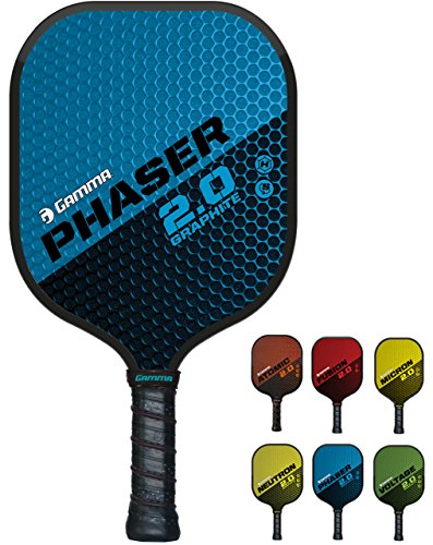 GAMMA Sports 2.0 Pickleball Paddles: Phaser 2.0 Pickleball Rackets - Textured Graphite Face - Mens and Womens Pickle Ball Racquet - Indoor and Outdoor Racket - Blue Pickle-Ball Paddle - 7.9 oz