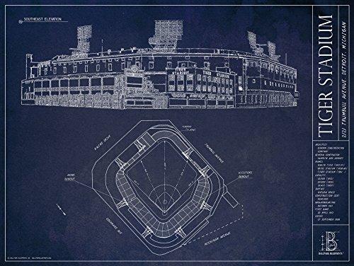 Tiger Stadium Blueprints Print (Old Tiger Stadium Detroit)