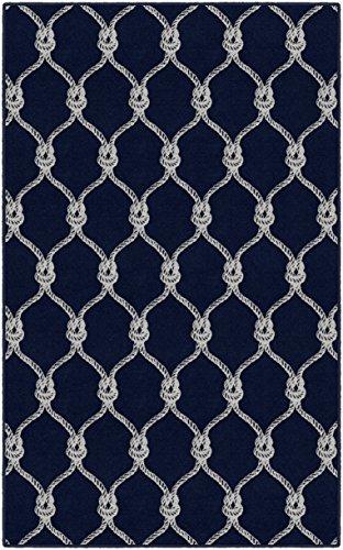 (Brumlow Mills EW10033-40x60 Nautical Rope Trellis Navy Area Rug, 3'4