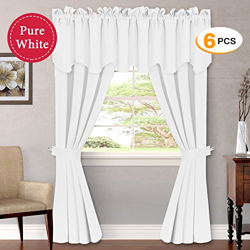 Pure White Room Darkening Grommet Curtains for Bedroom (Set of 6 PIECE, Include 2 Panles of W52 x L84 -Inch, 2 PIECE of Valances W52 x L18 - Inch, 2 Tie Backs) - by H.Versailtex