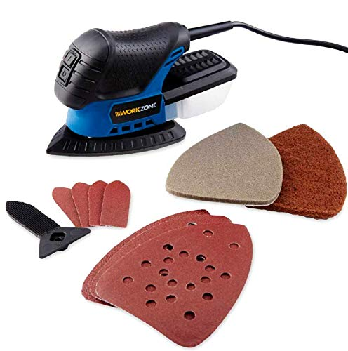 Heavy Duty 75W Detail Palm Corner Mouse Hand Sander Sanding Tool amp Sheet with Accessories WORKZONE