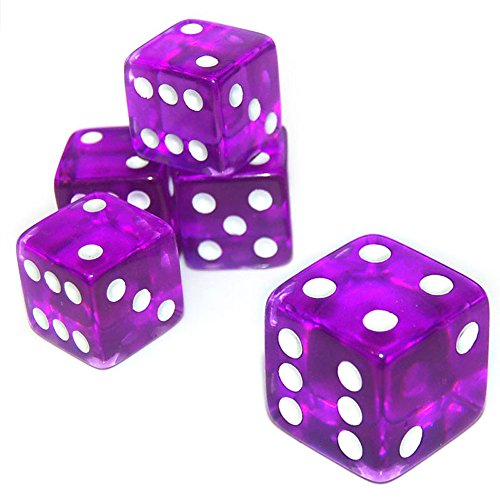 19mm D6 Six-Sided Gaming Transparent Casino Dice (3 ~ 15pcs) (19mm Purple (Square edges), 5pcs)