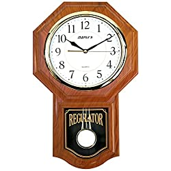 Maple's Clock Wall Clock with Pendulum Traditional Finish, Oak