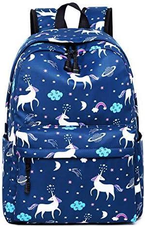 Dreampark Unicorn Backpack for Teen Girls, Student School Bookbag Shoulder Laptop Bag Navy Blue