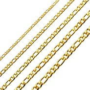Monily 16 Inches 30 Inches Figaro Chain Necklace 4mm 8.5mm Stainless Steel Figaro Link Chain for Men Women 18k