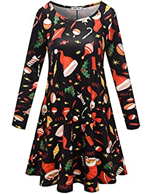 Aphratti Women's Long Sleeve Casual Santa Christmas Print Flare Swing Dress