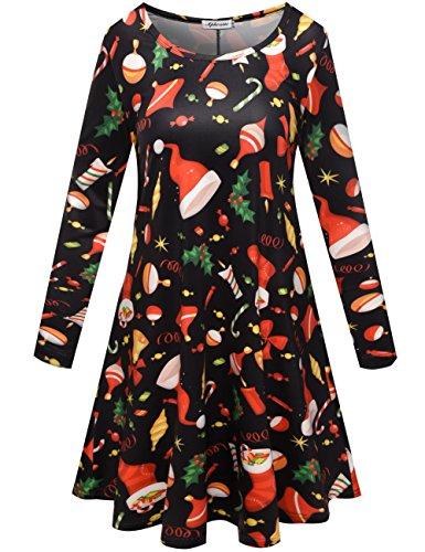 Aphratti Women's Long Sleeve Santa Christmas Print Flare Swing Dress Black X-Large (Christmas Knitted Dress)