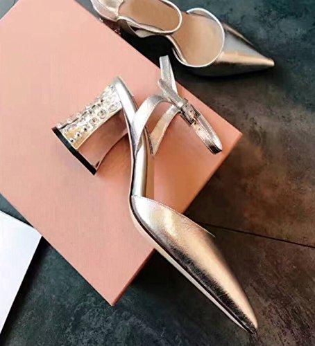 Rhinestone Talón Grueso Zapatos Silver De Dedo Pie Del Punta 7xcwTAX