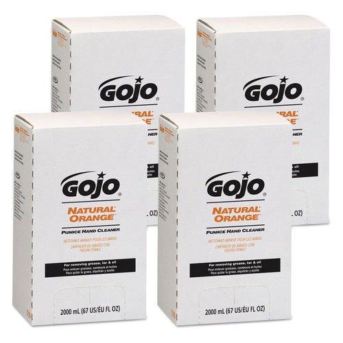 GOJO Industries 7255-04 NATURAL ORANGE Pumice Hand Cleaner Refill, Citrus Scent, 2000mL, 4/Carton - Orange Hand Cleaner