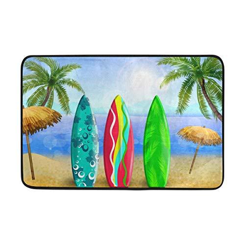 (Hawaii Surfboard Beach Bath Mat Non Slip Memory Foam Door Mat Bathroom Rugs Carpet for Inside Outdoor 15.7 x 23.6 in)