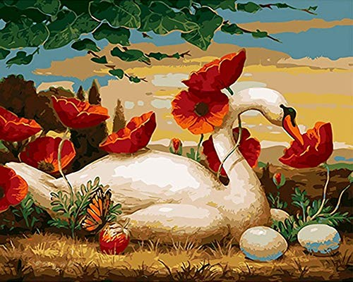 YEESAM ART DIY Paint by Numbers for Adults Beginner Kids, Sunset Red Poppy Flowers White Swan Butterfly 16x20 inch Linen Canvas Acrylic Stress Less Number Painting Gifts (White, Without Frame)