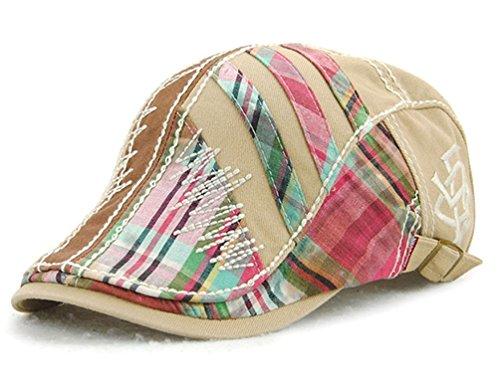GADIEMENSS Flat Beret Cap with Colorful Patch Simple Pattern and Adjustable Back Belt (Beige) (Damas Gorras Para)
