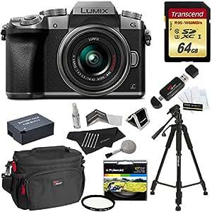 "Panasonic DMC-G7KS Digital Single Lens Mirrorless Camera 14-42 mm Lens Kit, 4K + Starter Bundle + Transcend 64 GB High Speed 10 UHS3 + Polaroid 57"" Tripod + Polaroid 46mm UV Filter + Battery + Bag"