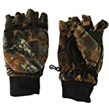 Men's Convertible Flip Top Hunting Fingerless Mitten Thick Warm Gloves Camouflage Large