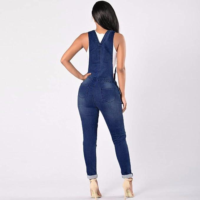 Amazon.com: TnaIolr - Mono de jean para mujer, vaquero, para ...