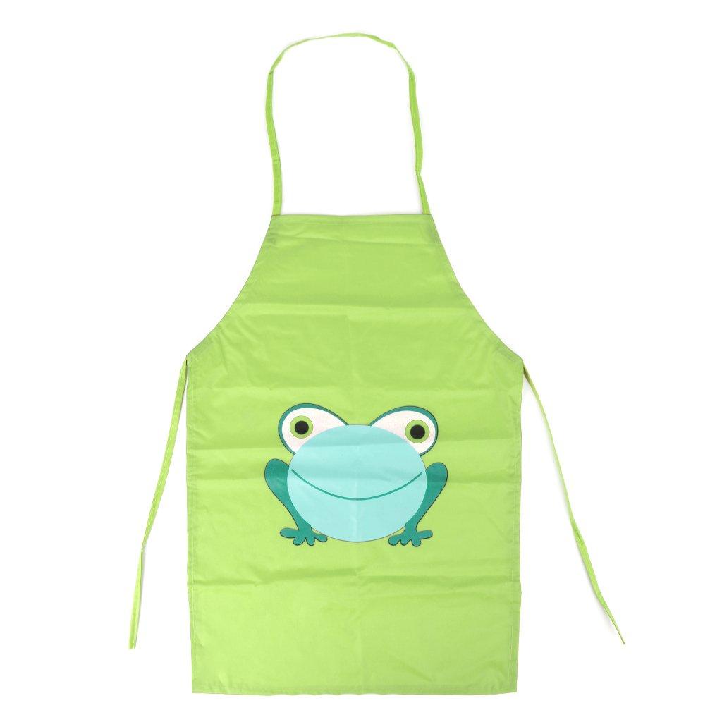 Guoyy Tablier de cuisine imprimé de grenouille de dessin animé de tablier imperméable d'enfants (rouge)