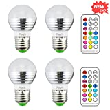 Rayh E26 Color Changing Light Bulbs 3W Colored Light Bulbs with Remote Control for Home Decoration / Bar / Party / KTV Mood Ambiance Lighting (Pack of 4)