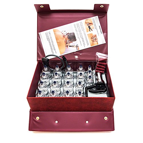 Hansol Professional Cupping Therapy Equipment Set with pumping handle 19 Cups /  English Manual (Made in Korea)