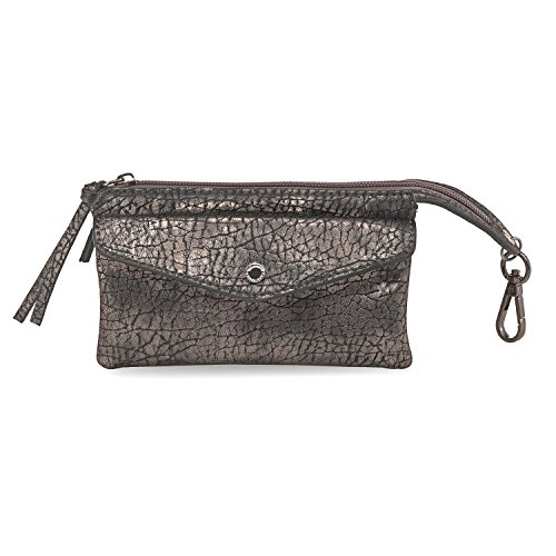 Tamaris CINZIA Damen Brieftasche Geldbörse oder Kosmetiktasche, Pouch oder Wallet, 16x10x4 cm (B x H x T), 4 Farben: coral, dunkelbraun, schwarz oder schwarz comb, Farbe:dunkelbraun