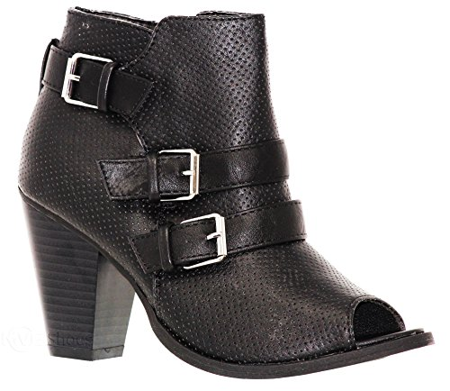 by MVE Zipper Ankle Triple Deco Pointed High Shoes Bootie Black74 Women's Buckle Shoe Heel Side Mid Ankle Toys ZZBqrOwx