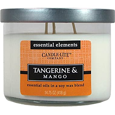 Candle-lite Essential Elements 14-3/4-Ounce 3 Wick Candle with Soy Wax, Tangerine and Mango