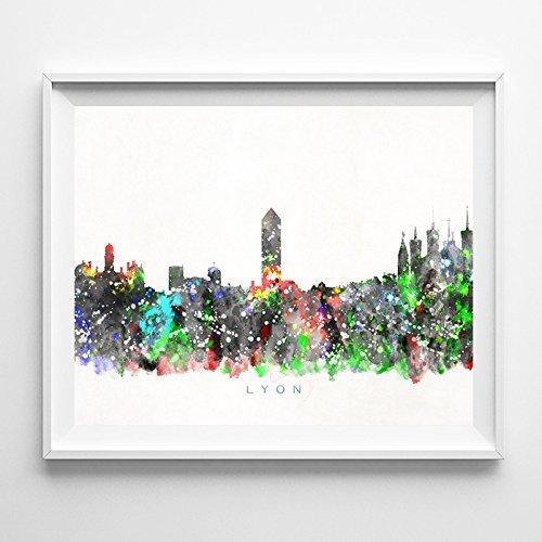 Lyon France Watercolor Skyline Wall Art Home Decor Poster (Lyon Bed)