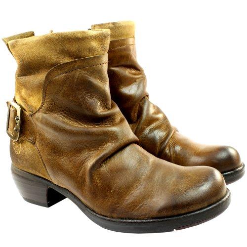 Womens Tan Biker Boots - 6