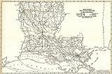 Historic Map | 1921 Louisiana- Black and White Mileage Map | Rand McNally and Company