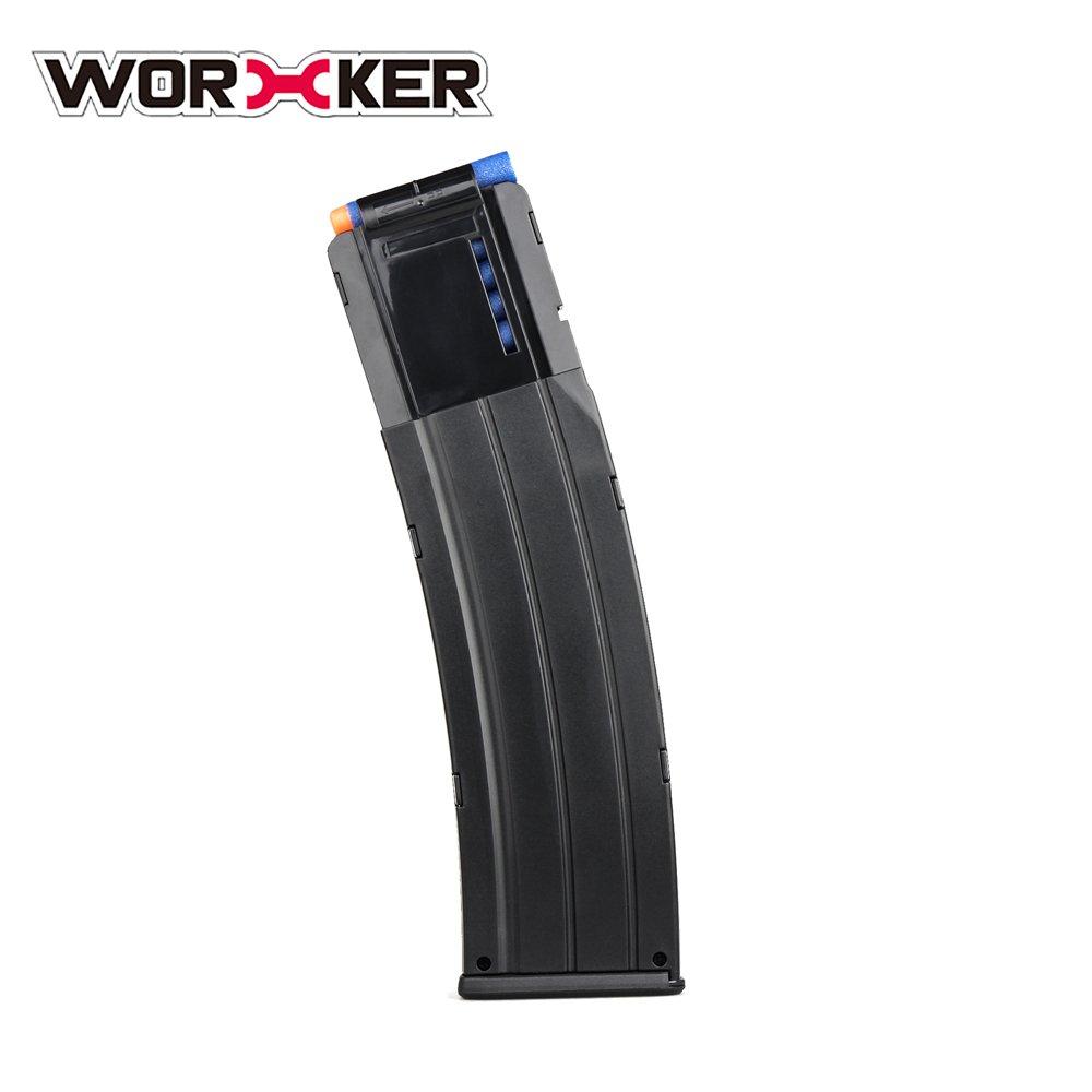 JCC Worker 22-Dart AK Style Soft Bullet Banana Clip Black Color for Nerf N-Strike Elite Blaster