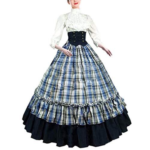 (LY-VV Women Gothic Victorian Lolita Dress Plaid Floor Length Princess Costume White, Large)