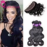 Queen Plus Hair Body Weave,7A Brazilian Virgin Hair, Full Lace Frontal Closure(13×4) with 4 Bundles , Natural Color Weft, Shedding&Tangle Free (20 22 24 26 with 18)
