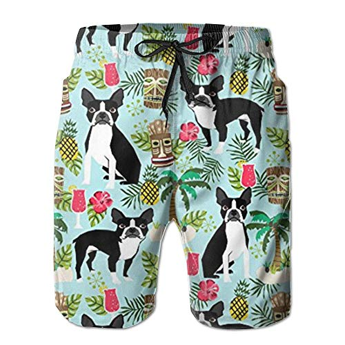 LOLOIJA New Mens Trunks Pants New Boston Terrier, Palm Trees Summer Holiday Men's Beach Pants,Shorts Beach Shorts Swim Trunks,XXL -