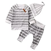 BAOBAOLAI Baby Boy Striped Long Sleeve Top Shirt Long Pants Clothes Set With Hat