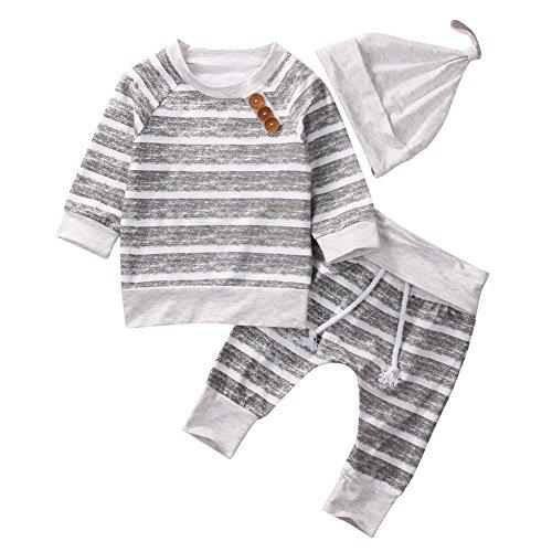 18-24 Months Yilaku Newborn Toddler Kids Baby Boys Girls Short Sleeve Cotton T-Shirt /& Stripes Short Pants Outfits Set White