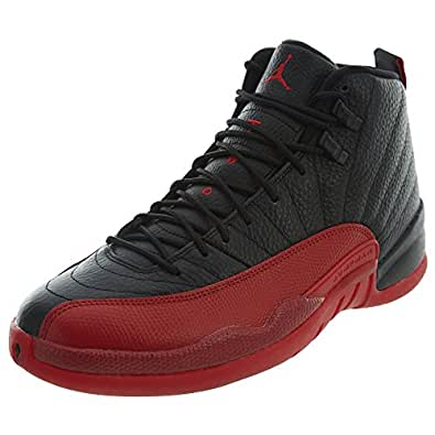 71bf19dae9c Image Unavailable. Image not available for. Color  Jordan 130690-002 Men AIR  12 Retro Black Varsity RED