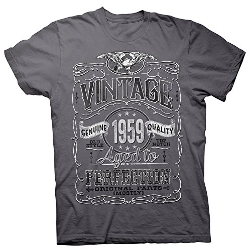 60th Birthday Gift Shirt - Vintage Aged to Perfection 1959 - Charcoal-002-XL
