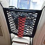 Car Universal Elastic Mesh Net Trunk Bag/Between Car Organizer Luggage Holder Pocket with 4 Plastic Hooks Black