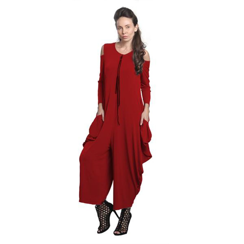 IC Collection Cold Shoulder Jumpsuit In Red Plus Size Available 8419 (Small)