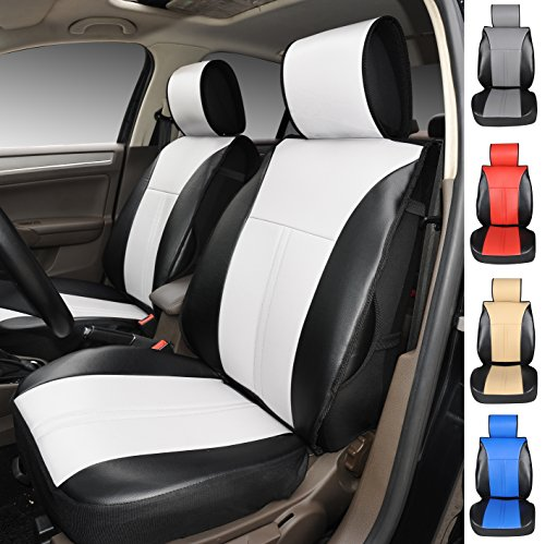[120906S Black/White-2 Front Car Seat Cover Cushions Leather Like Vinyl, Compatible to Mitsubishi Mirage Mirage G4 I-Miev Outlander Outlander Sport Lancer Lancer Evolution 2017-2007 (Black/White)] (Mitsubishi Mirage Vinyl)