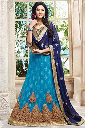 PCC Indian Women Designer Wedding sky blue Lehenga Choli K-4427-38479