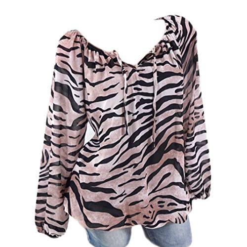 KFSO Women Tiger Print Plus Size V-Neck Tie Loose Tunic Blouse Tops T-Shirt (Khaki, -