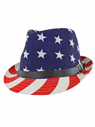 (Luxury Divas American Flag Summer Straw Woven Fedora Hat Red)