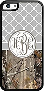 Country Girl Gray Quatrefoil Brown Camo Ing Monogram Case Cover For iPhone 5C Case- Snaps on