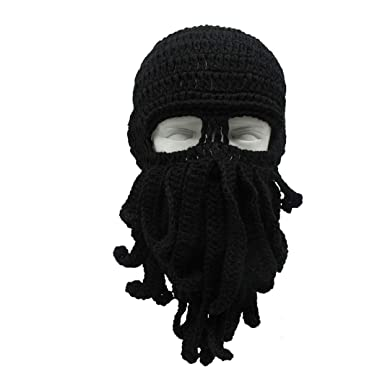 4b57c9dd6b9 Unisex Knitted Wig Hats Funny Octopus Hat Ski Squid Mask Beard Beanie Warm  Winter Hat Skull Slouchy Cap at Amazon Men s Clothing store