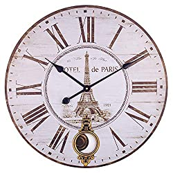 BEW Large Wall Clock, Vintage Paris Eiffel Tower Silent Non-Ticking Battery Operated Quartz Movement, Rustic Decorative Pendulum Clock for Living/Dining/Bedroom/Kitchen (24 Inch)