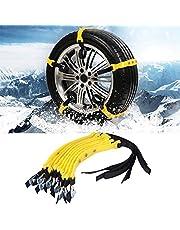 SKIESOAR 10 stuks 185-225mm auto band sneeuwkettingen set, universele verbrede band sneeuwketting anti-slip bandkettingen noodtractiewiel kabelbinders