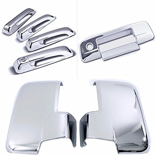 Cobra-Tek 2009-2012 Dodge Ram Chrome Door Handle Cover 4D (No Passenger Keyhole) &Tailgate Handle Cover (W/ Keyhole) & Mirror Cover With Turn Signal (Not Fit Towing Mirror) Combo ()