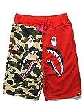 Athletic Pants Shark Pattern Camouflage Stitching Shorts Men Drawstring Black Sports Shorts