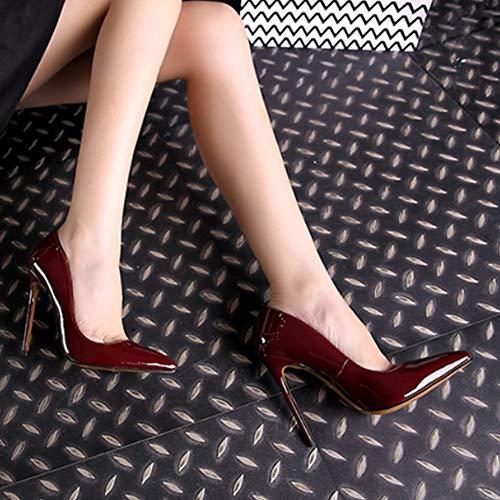 Chaussures Stylet D'affaires Fête Unie Femme Couleur Pompes Hauts Mode Yudesun Talons Fermé Rouge Mariage Pointé Robe Foncé Bureau Sexy 6qwaCE7x